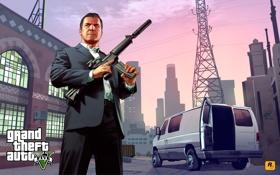 Картинка оружие, автомат, майкл, Grand Theft Auto V, gta5, лос сантос