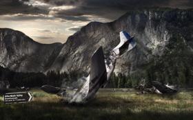Обои авария, горы, самолет, погода, Aftermath Valley