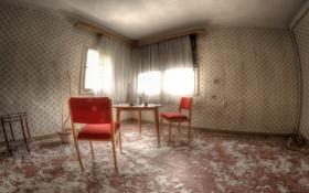 Обои стол, стулья, комната