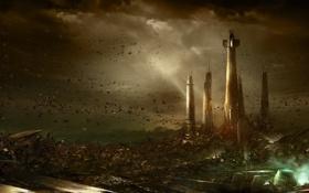 Обои взрыв, тучи, город, камни, планета, катастрофа, башни