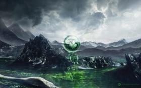 Обои вода, скалы, эмблема, desktopography