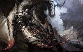 Обои крылья, монстр, арт, пасть, всадник, копье