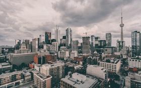 Обои облака, люди, кран, крыши, знаки, Канада, Онтарио