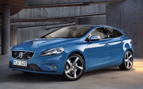 Картинка синий, фон, Volvo, Вольво, передок, хетчбек, V40