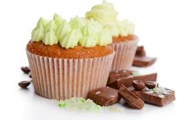Обои cupcakes, шоколад, пирожное, крем, кексики, chocolate, dessert