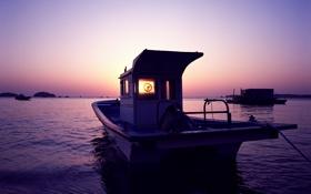 Картинка море, фиолетовый, закат, лодка, boat