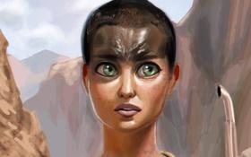 Обои лицо, Charlize Theron, женщина, art, mad max, Mad Max: Fury Road, furiosa