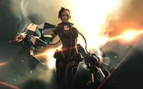 Обои cyborg, девушка, girl, arm, пулемет