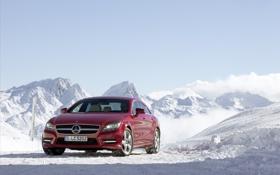 Обои зима, снег, Benz, авто обои, мерседесы, зимние обои, CLS class