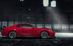Обои красный, Mustang, Ford, мустанг, ангар, red, форд