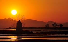 Обои небо, солнце, закат, ветряная мельница
