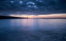 Картинка море, пейзаж, ночь, маяк