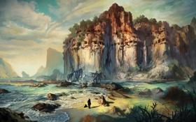 Картинка море, камни, скалы, человек, корабль, остов, риф