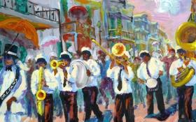 Обои город, улица, картина, США, карнавал, музыканты, оркестр