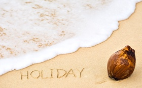 Обои песок, море, пляж, лето, надпись, summer, beach