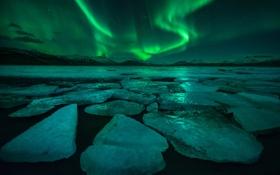 Обои свет, ночь, лёд, северное сияние, Исландия