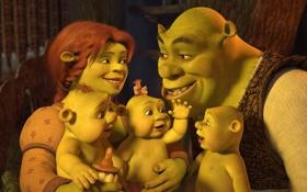 Обои мультфильм, семья, шрек, фиона