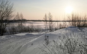 Картинка зима, пейзаж, снег, дорога