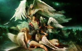 Обои крылья, ангелы, вечеринка, данте, Devil May Cry