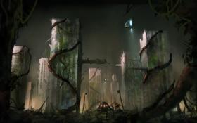 Обои корабль, здания, арт, монстры, разруха, руины, лианы