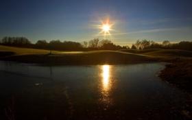 Обои солнце, закат, природа, озеро, фото, рассвет, Германия