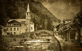 Картинка мост, река, черно-белое