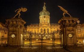 Обои ночь, огни, замок, ворота, Германия, Берлин, Шарлоттенбург