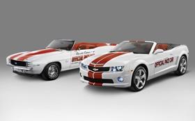 Обои Chevrolet, Camaro, white, кабриолет, шевроле, камаро, красные спортивные полосы