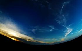 Картинка небо, солнце, облака, восход, утро, арт, панорама