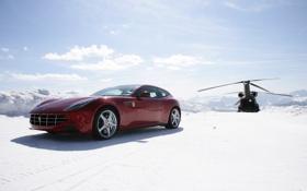 Обои Snow, Ferrari, helicoter, красная, хетчбек, вертолет, снег