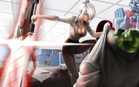 Обои девушка, оружие, страх, злость, офис, парни, art