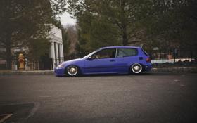 Картинка Purple, хонда, Honda Civic, цивик, stance. tuning