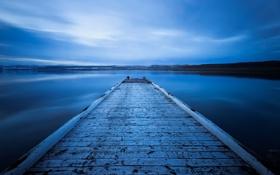 Обои небо, вода, озеро, гладь, синева, спокойствие, мостик