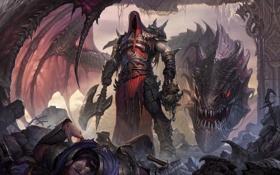 Обои фантастика, дракон, корона, демон, арт, топор, король