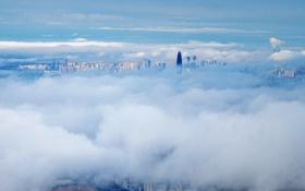 Обои небо, облака, город, туман, день