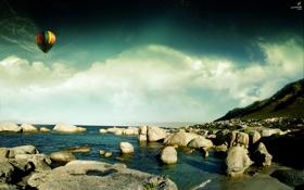 Картинка вода, воздушный шар, камни, берег, Небо, красота