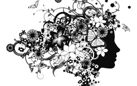 Обои девушка, бабочки, цветы, лицо, абстракции, силуэт, профиль