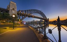 Обои небо, закат, мост, Австралия, Сидней