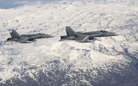 Обои пейзаж, истребители, полёт, Hornet, CF-18