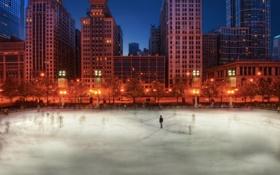 Картинка США, каток, вечер, город, Chicago, Иллиноис, зима