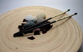 Обои галька, палочки, лепестки, Япония, искусство