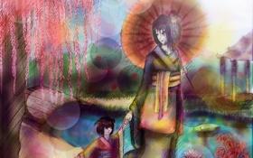 Обои девушка, зонтик, дерево, Япония, девочка