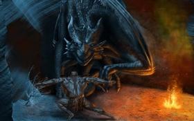 Обои скала, огонь, дракон, человек, арт, пещера, спиной