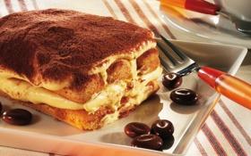Картинка пирожное, крем, coffee, grains, зёрна, тирамису, кофе