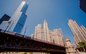 Картинка небо, мост, город, небоскребы, Чикаго, Иллиноис