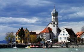 Обои город, здания, Германия, Бавария, пирс, часовня, Вассербург