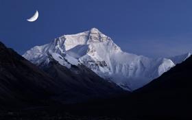 Обои небо, горы, вечер, Луна, сумерки