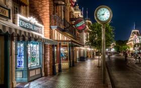 Обои ночь, город, улица, часы, USA, ночной город, California