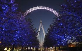 Обои украшения, деревья, огни, праздник, Англия, Лондон, Рождество