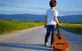 Картинка дорога, гитара, малчик